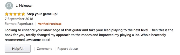 Modes For Rock Guitar Players 5-star review